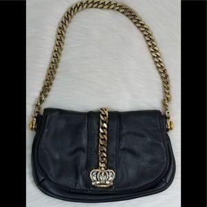 WILSONS LEATHER Crown Bejeweled Chain Black Bag